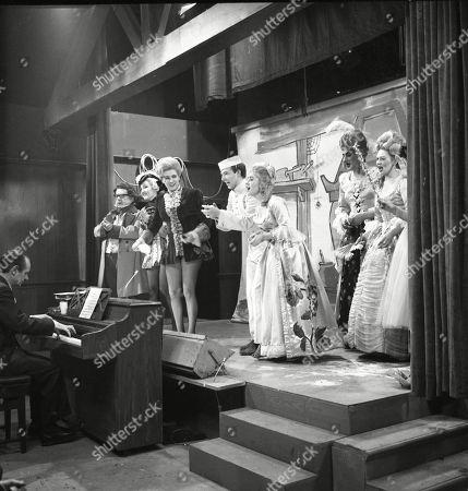 The Coronation Street pantomime. Eddie King (as Alf Chadwick), Jack Howarth (as Albert Tatlock), Eileen Derbyshire (as Emily Nugent), Pat Phoenix (as Elsie Tanner), Philip Lowrie (as Dennis Tanner), Jennifer Moss (as Lucille Hewitt), Gordon Rollings (as Charlie Moffitt) and Sandra Gough (as Irma Ogden)