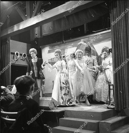 The Coronation Street pantomime. Pat Phoenix (as Elsie Tanner), Jennifer Moss (as Lucille Hewitt), Philip Lowrie (as Dennis Tanner), Doris Speed (as Annie Walker), Gordon Rollings (as Charlie Moffitt) and Sandra Gough (as Irma Ogden)