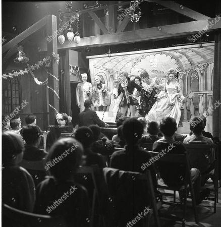 The Coronation Street pantomime. Philip Lowrie (as Dennis Tanner), Eddie King (as Alf Chadwick), Eileen Derbyshire (as Emily Nugent), Jennifer Moss (as Lucille Hewitt), Pat Phoenix (as Elsie Tanner), Jack Howarth (as Albert Tatlock), Gordon Rollings (as Charlie Moffitt) and Sandra Gough (as Irma Ogden)