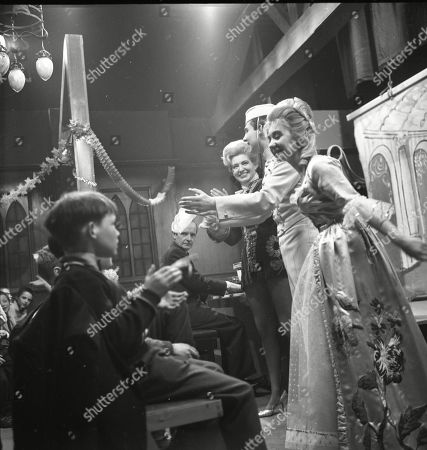 The Coronation Street pantomime. Eddie King (as Alf Chadwick), Pat Phoenix (as Elsie Tanner), Philip Lowrie (as Dennis Tanner) and Jennifer Moss (as Lucille Hewitt)