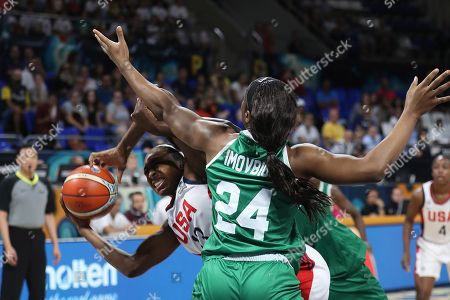 US National Women's basketball team player Nneka Ogwumike (L) fights for the ball with Nigerian Sarah Imovbioh during their 2018 FIBA Women's Basketball World Cup quarter finals match in Tenerife, Canary Islands, Spain, 28 September 2018.