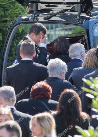 Stock Image of Former World Champion boxer Joe Calzaghe after the funeral of his father and boxing trainer Enzo Calzaghe