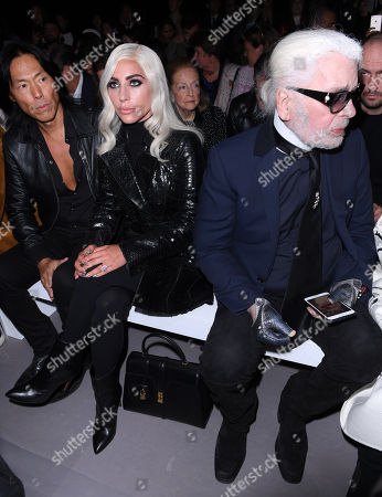 Stephen Gan, Lady Gaga and Karl Lagerfeld in the front row
