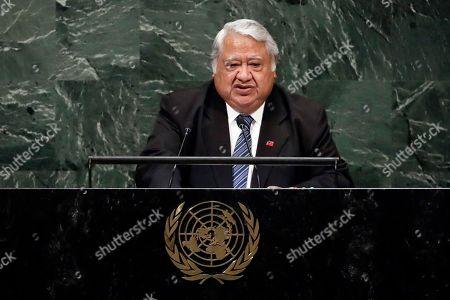 Samoa's Prime Minister Tuilaepa Sailele Malielegaoi addresses the 73rd session of the United Nations General Assembly, at U.N. headquarters