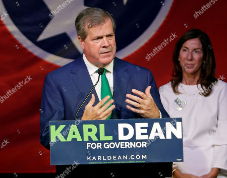 Stock Photo of Former Nashville Mayor Karl Dean thanks supporters at a victory party after winning the Democratic nomination for Tennessee governor in Nashville, Tenn. Dean is giving campaign trail shout-outs to Republican Gov. Bill Haslam even as Dean seeks to replace him. Never mind that the popular term-limited governor is backing Dean's GOP opponent, Bill Lee