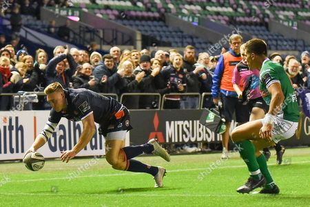 The easiest of tries for Dougie Fife during the Guinness Pro 14 2018_19 match between Edinburgh Rugby and Benetton Treviso at Murrayfield Stadium, Edinburgh