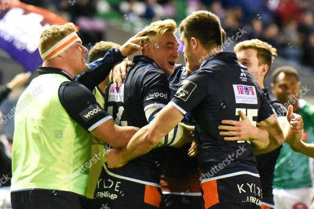 Try scorer Dougie Fife is congratulated by team mates during the Guinness Pro 14 2018_19 match between Edinburgh Rugby and Benetton Treviso at Murrayfield Stadium, Edinburgh