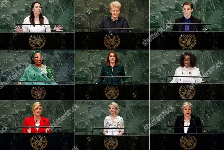Stock Picture of This photo combo shows, from top left, New Zealand's Prime Minister Jacinda Ardern, Lithuania's President Dalia Grybauskaite, and Serbia's Prime Minister Ana Brnabic. Middle row, from left, Nobel Peace Prize winner Leymah Gbowee, from Liberia, U.N. General Assembly President María Fernanda Espinosa Garces, and Costa Rican Vice President Epsy Campbell Barr. Bottom row, from left, Croatia's President Kolinda Grabar-Kitarovic, Liechtenstein's Foreign Minister Aurelia Frick, and British Prime Minister Theresa May. At the U.N. General Assembly, the first since #metoo took root, some of the most powerful words came from the mouths of female leaders, a group whose numbers, influence and ambitions for the planet are on the rise