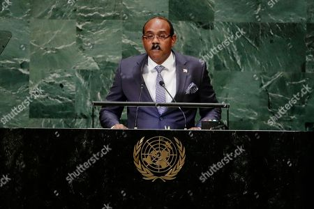 Stock Picture of Antigua and Barbuda's Prime Minister Gaston Alphonso Browne addresses the 73rd session of the United Nations General Assembly, at the United Nations headquarters