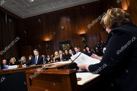 Stock Picture of Phoenix prosecutor Rachel Mitchell questions Supreme Court nominee Brett Kavanaugh as he testifies before the Senate Judiciary Committee on Capitol Hill in Washington