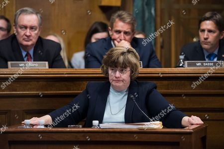 Stock Photo of Rachel Mitchell, counsel for Senate Judiciary Committee Republicans, questions Dr. Christine Blasey Ford during the Senate Judiciary Committee hearing on the nomination of Brett M. Kavanaugh to be an associate justice of the Supreme Court of the United States, focusing on allegations of sexual assault by Kavanaugh against Christine Blasey Ford in the early 1980s
