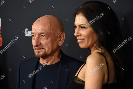 """Ben Kingsley, Daniela Lavender. Ben Kingsley, left, and Daniela Lavender arrive at the world premiere of """"Nomis"""" during the closing night of the Los Angeles Film Festival, at the ArcLight Cinerama Dome"""