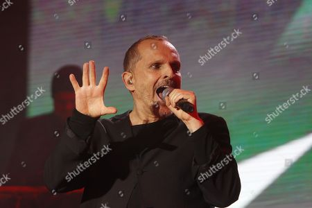 Spanish singer Miguel Bose performs during a concert in Medellin, Colombia, 28 September 2018.