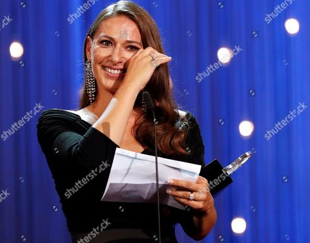 Norwegian actress Pia Tjelta speaks after receiving the Silver Shell for best actress, during the closing ceremony of the San Sebastian International Film Festival, in San Sebastian, Basque Country, Spain, 29 September 2018. The 66th edition of the SSIFF runs from 21 to 29 September.