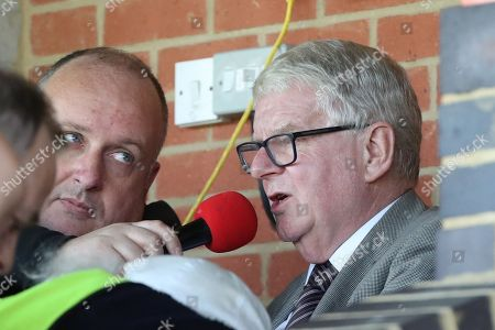 John Motson OBE doing some commentary during the EFL Sky Bet League 1 match between AFC Wimbledon and Oxford United at the Cherry Red Records Stadium, Kingston
