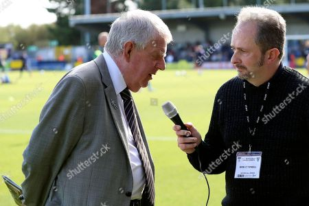 John Motson OBE being interviewed prior to kick off during the EFL Sky Bet League 1 match between AFC Wimbledon and Oxford United at the Cherry Red Records Stadium, Kingston