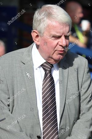 John Motson OBE prior to kick off during the EFL Sky Bet League 1 match between AFC Wimbledon and Oxford United at the Cherry Red Records Stadium, Kingston