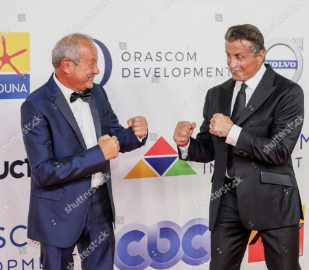 US actor Sylvester Stallone (R) gestures while posing with Egyptian businessman Naguib Sawiris (L) at Gouna Film Festival at El Gouna, 470km southeast of Cairo, Egypt, 28 September 2018 (issued 29 September 2018). Stallone received Career Achievement Award from the second edition of El Gouna Film Festival.