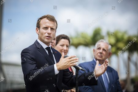 French President Emmanuel Macron speaks after arriving with Minister for Solidarity and Health Agnes Buzyn and Minister for the Territorial Cohesion Jacques Mezard as part of a four-day visit to the French Antilles (west indies), Guadeloupe,