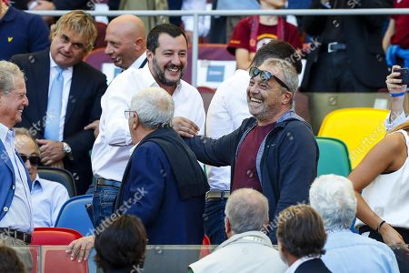 Matteo Salvini (CL), Italian Interior minister and Italian actor Claudio Amendola (C-R) during the Italian Serie A soccer match between AS Roma and SS Lazio at Olimpico stadium in Rome, Italy, 29 September 2018.