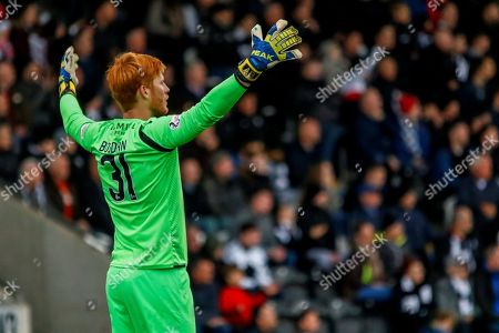 Adam Bogdan of Hibernian FC protesting to the referee during the Ladbrokes Scottish Premiership match between St Mirren and Hibernian at the Simple Digital Arena, Paisley