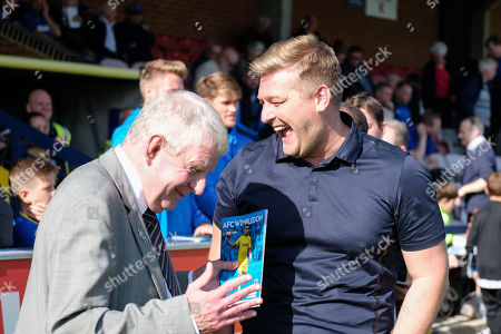 John Motson chats to Oxford United manager Karl Robinson during AFC Wimbledon vs Oxford United, Sky Bet EFL League 1 Football at the Cherry Red Records Stadium on 29th September 2018
