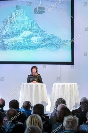 Swiss Federal Councillor Doris Leuthard delivers a speech during the inauguration ceremony of the new 3S ropeway in Zermatt, Valais, Switzerland, 29 September 2018. After three summer seasons of construction work with 38 involved companies and an invested sum of 52 million Swiss Francs the highest 3S ropeway is opening today in Zermatt. Therewith 2000 people can be transported all year around onto the Matterhorn glacier paradise, the highest mountain station in Europe.