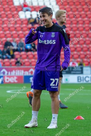 Stoke City forward Bojan Krkic as he warms up for the EFL Sky Bet Championship match between Rotherham United and Stoke City at the AESSEAL New York Stadium, Rotherham