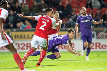 Stoke City forward Bojan Krkic as he heads the ball to make it 2-2 during the EFL Sky Bet Championship match between Rotherham United and Stoke City at the AESSEAL New York Stadium, Rotherham