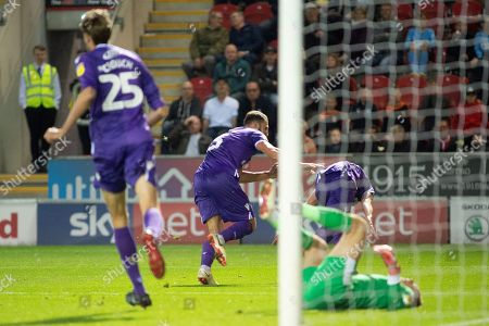 Stoke City forward Bojan Krkic runs off the celebrate as he scores the equalizer from a header 2-2 during the EFL Sky Bet Championship match between Rotherham United and Stoke City at the AESSEAL New York Stadium, Rotherham
