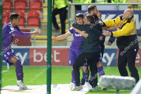 Stoke celebrate as Stoke City forward Bojan Krkic scores the equalizer and a fan gets involed with the celebrations during the EFL Sky Bet Championship match between Rotherham United and Stoke City at the AESSEAL New York Stadium, Rotherham
