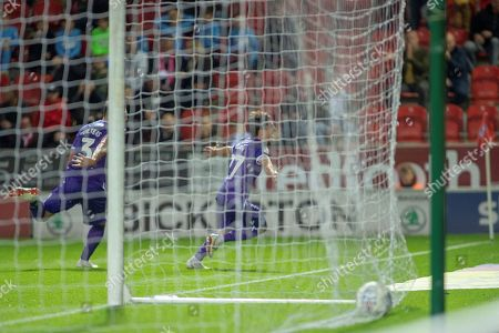 Stoke City forward Bojan Krkic celebrates as he scores a goal to equalize 2-2 during the EFL Sky Bet Championship match between Rotherham United and Stoke City at the AESSEAL New York Stadium, Rotherham