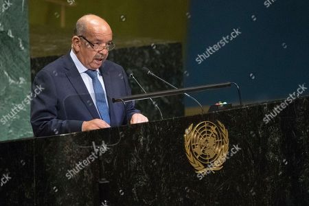 Algerian Foreign Minister Abdelkader Messahel addresses the 73rd session of the United Nations General Assembly, at U.N. headquarters