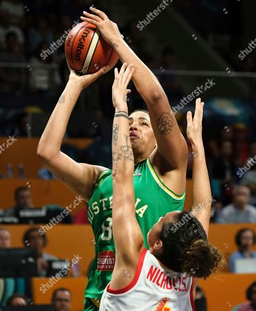 Liz Cambage of Australia jumps against Spain during the Women's basketball World Cup semi final match between Spain and Australia in Tenerife, Spain