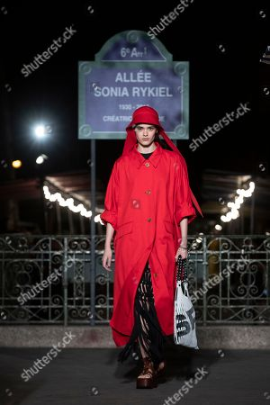Romanian model Alexandra Micu  presents a creation from the Spring/Summer 2019 Women's collections by French designer Julie de Libran for Sonia Rykiel fashion label during the Paris Fashion Week, in Paris, France, 29 September 2018. The presentation of the Women's collections runs from 24 September to 02 October.