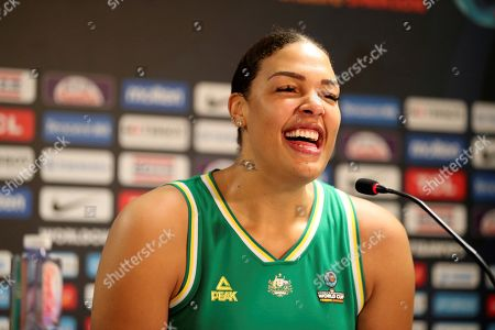 Australian player Liz Cambage speaks during a press conference after the victory against Spain at the end of the semifinals of the Women's Basketball World Cup FIBA 2018, at the pavilion Santiago Martin, in La Laguna, Tenerife, Spain, 29 September 2018.