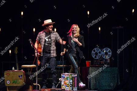Eddie Vedder Liz Phair. Eddie Vedder, left, and Liz Phair seen at Ohana Festival at Doheny State Beach, in Dana Point, Calif