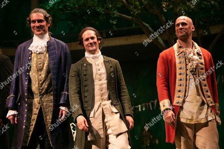 Mark Umbers (Robert Walpole/David Garrick), Bryan Dick (William Hogarth) and Ben Deery (Frank/Zachariah Blunt) during the curtain call