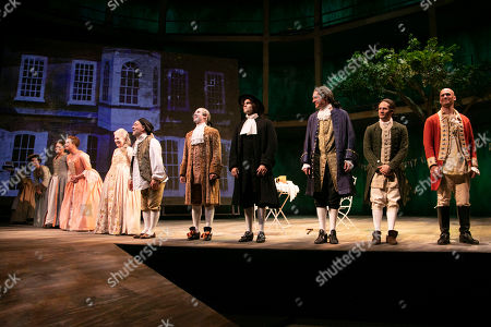 Emma Cunniffe (Louisa/Mrs Colquhoun/Mrs Bascombe), Susannah Harker (Queen Caroline/Jane Hogarth), Sylvestra Le Touzel (Mrs Needham/Lady Thornhill), Keith Allen (William Hogarth), Ian Hallard (Oliver/Horace Walpole), Jack Derges (Henry Fielding/Parson Venables), Mark Umbers (Robert Walpole/David Garrick), Bryan Dick (William Hogarth) and Ben Deery (Frank/Zachariah Blunt) during the curtain call