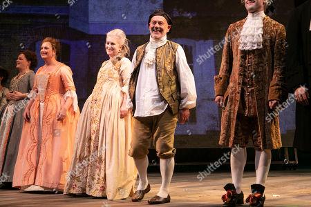 Emma Cunniffe (Louisa/Mrs Colquhoun/Mrs Bascombe), Susannah Harker (Queen Caroline/Jane Hogarth), Sylvestra Le Touzel (Mrs Needham/Lady Thornhill) and Keith Allen (William Hogarth) during the curtain call