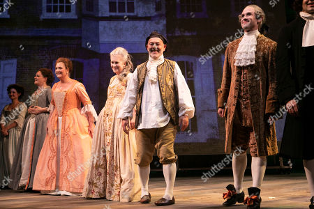 Emma Cunniffe (Louisa/Mrs Colquhoun/Mrs Bascombe), Susannah Harker (Queen Caroline/Jane Hogarth), Sylvestra Le Touzel (Mrs Needham/Lady Thornhill), Keith Allen (William Hogarth) and Ian Hallard (Oliver/Horace Walpole) during the curtain call