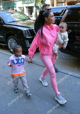 Stock Picture of Kim Kardashian West, Chicago West, Saint West