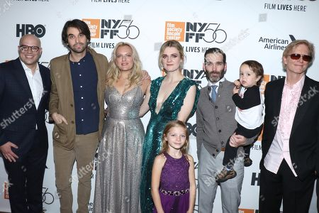 Stock Photo of Matthew Perniciaro, producer, Alex Ross Perry, director, Elisabeth Moss, Gayle Rankin, Daisy Pugh-Weiss, Adam Piotrowicz, producer (holding Clive Piotrowicz) and Eric Stoltz
