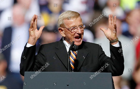 Stock Picture of American football coach Lou Holtz addresses the crowd before United States President Donald Trump speaks to supporters during a rally at the WesBanco Arena in Wheeling, West Virginia, USA, 29 September 2018.