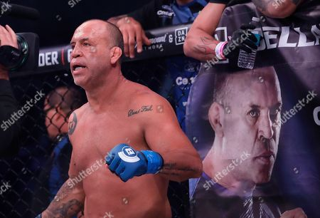Wanderlei Silva stands in his corner before competing against Quinton Jackson during a heavyweight mixed martial arts fight at Bellator 206 in San Jose, Calif