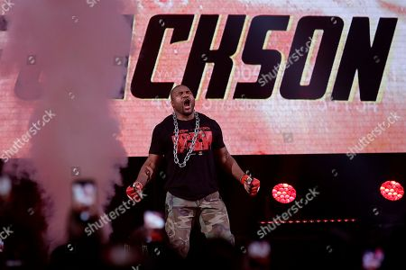 Quinton Jackson is introduced before competing against Wanderlei Silva during a heavyweight mixed martial arts fight at Bellator 206 in San Jose, Calif