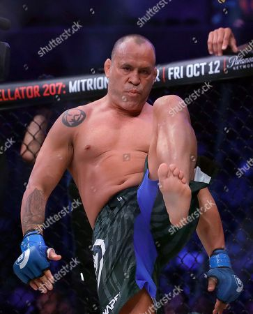 Stock Picture of Wanderlei Silva stands in his corner before competing against Quinton Jackson during a heavyweight mixed martial arts fight at Bellator 206 in San Jose, Calif