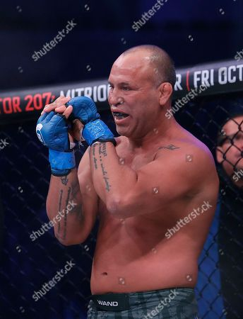 Stock Image of Wanderlei Silva stands in his corner before competing against Quinton Jackson during a heavyweight mixed martial arts fight at Bellator 206 in San Jose, Calif