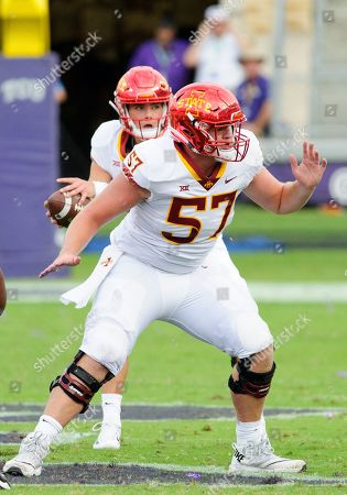 Iowa State Cyclones offensive lineman Colin Newell (57) pass blocking during the 1st half of the NCAA Football game between the Iowa State Cyclones and the TCU Horned Frogs at Amon G. Carter in Waco, Texas