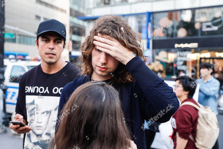 Lucas Jagger is seen next to the protest during protest #ELENAO against the presidential candidate of Brazil, Jair Bolsonaro in the city of New York in the United States this Saturday, 29. According to Lucas he was passing and was not to protest.